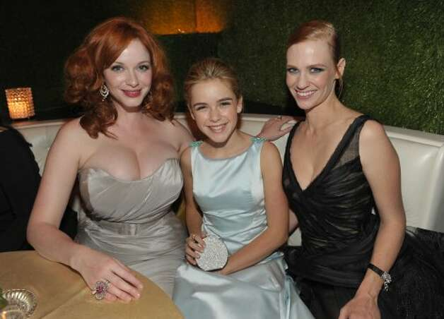 From left, actresses Christina Hendricks, Kiernan Shipka and January Jones are seen at the AMC Emmy After Party on Sunday Sept. 23, 2012, in Los Angeles.