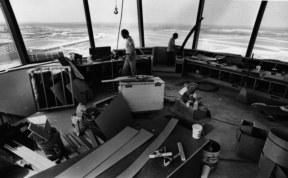 Carpenters  work inside the tower at San Antonio International Airport. April 1985 Photo: San Antonio Express-News