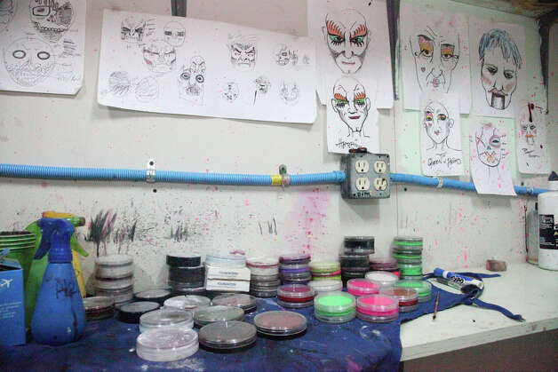 The makeup room with sketches of characters to be worked on. Nightmare on Grayson is closing after 24 years to make room for retail and loft development there. Photo: Juanito M. Garza, San Antonio Express-News / San Antonio Express-News