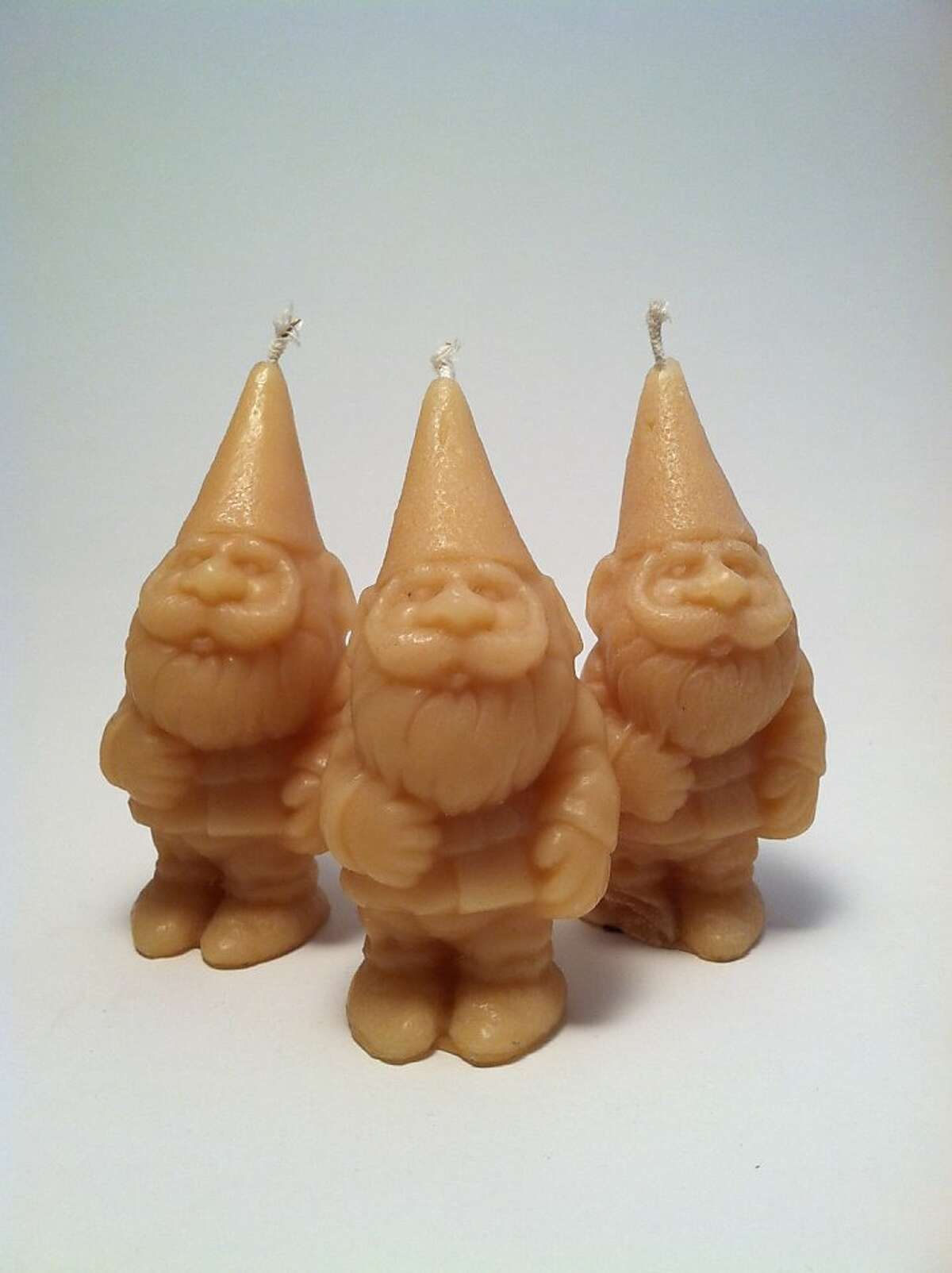 Beeswax gnome candles: These cute little gnomes warm my heart. They are handcrafted of 100 percent locally sourced beeswax that burns cleaner, brighter and longer than any other candle wax. (www.atomicgardenoakland.com)
