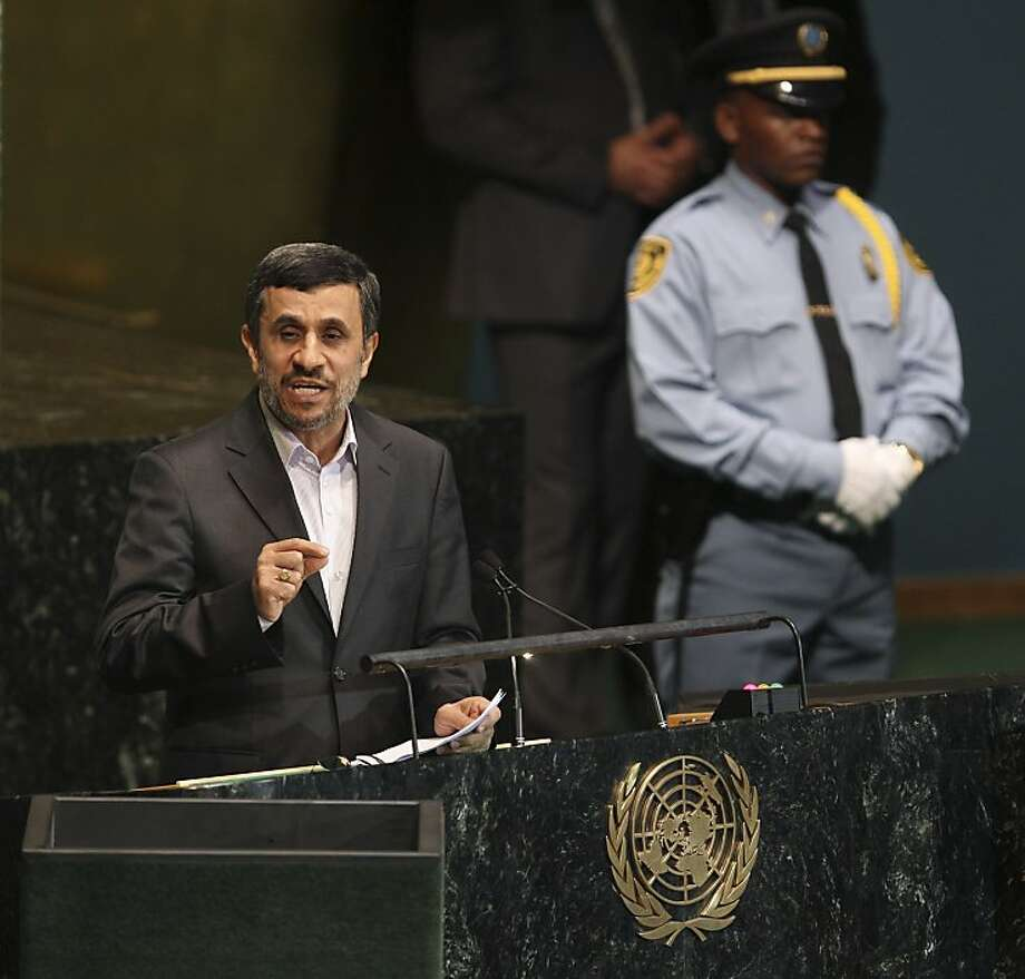 Iranian President Mahmoud Ahmadinejad speaks at the United Nations. He told the press that Israelis have been the Middle East for only 60 or 70 years. He ignored a warning from Secretary-General Ban Ki-moon against making inflammatory remarks. Photo: Seth Wenig, Associated Press