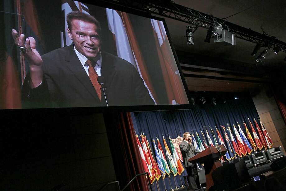 Former Gov. Arnold Schwarzenegger speaks at the Schwarzenegger Institute for State and Global Policy's inaugural symposium. Photo: Reed Saxon, Associated Press