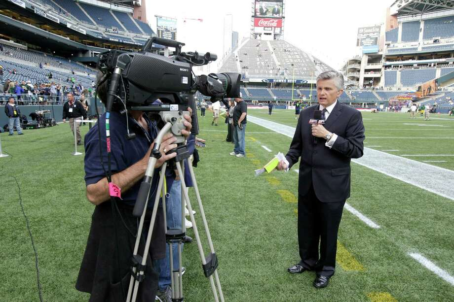 John Sutcliffe, sideline reporter with ESPN Deportes, during warm ups before the Green Bay Packers  and Seattle NFL football game, Monday, Sept. 24, 2012, in Seattle. The NFL is celebrating Hispanic Heritage Month. Photo: AP