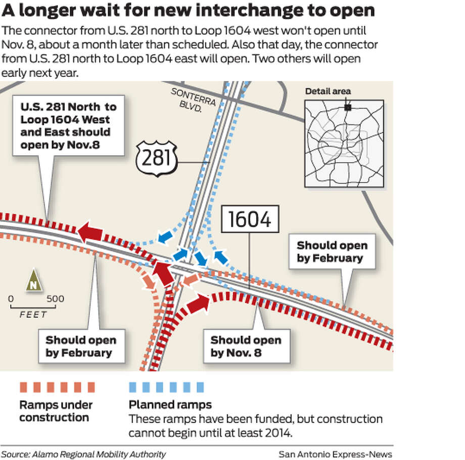 The connector from U.S. 281 north to Loop 1604 west won't open until Nov. 8, about a month later than scheduled. Also that day, the connector from U.S. 281 north to Loop 1604 east will open. Two others will open early next year. Photo: Mike Fisher