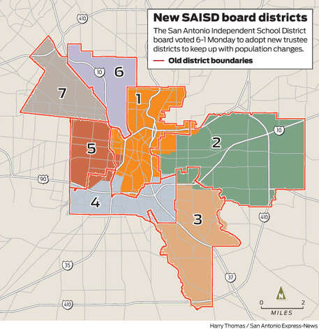 The San Antonio Independent School District board voted 6-1 Monday to adopt new trustee districts to keep up with population changes. Photo: Harry Thomas