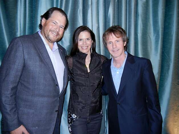Salesforce.com founder Marc Benioff (left), with his wife, Lynne, and comedian Dana Carvey. Photo: Catherine Bigelow, Special To The Chronicle