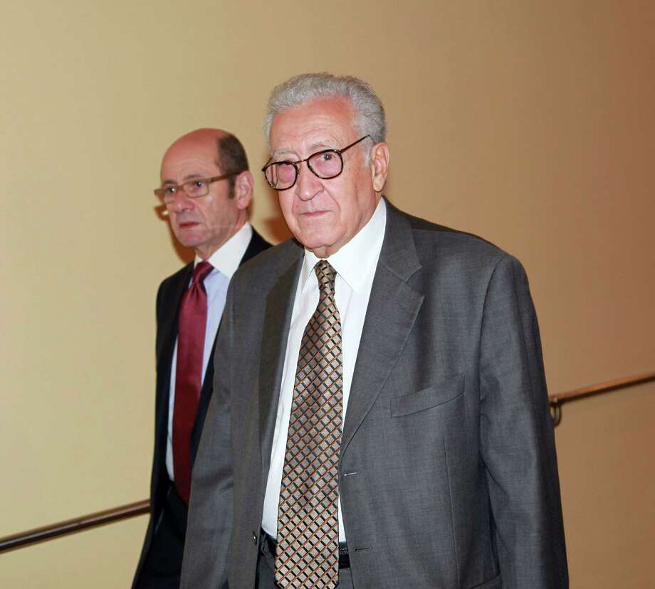 Lakhdar Brahimi, joint special representative for Syria, arrives at closed door consultations regarding the situation in Syria at the Security Council at United Nations headquarters Monday, Sept.  24,  2012.  (AP Photo/David Karp) Photo: David Karp