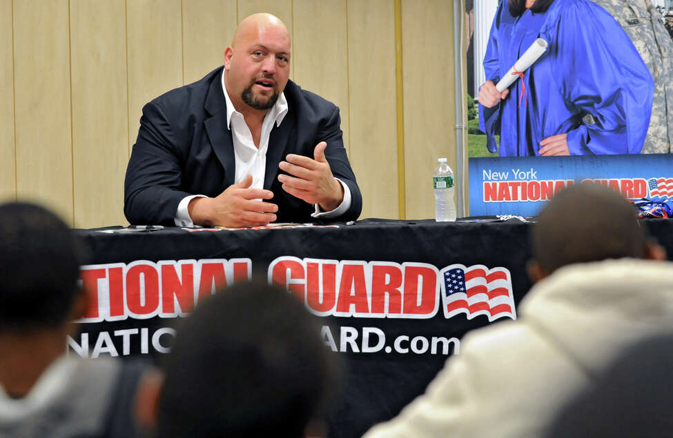 The Big Show, a WWE pro wrestler, speaks to Albany High students Monday, Sept. 24, 2012 in Albany, N.Y. (Lori Van Buren / Times Union)