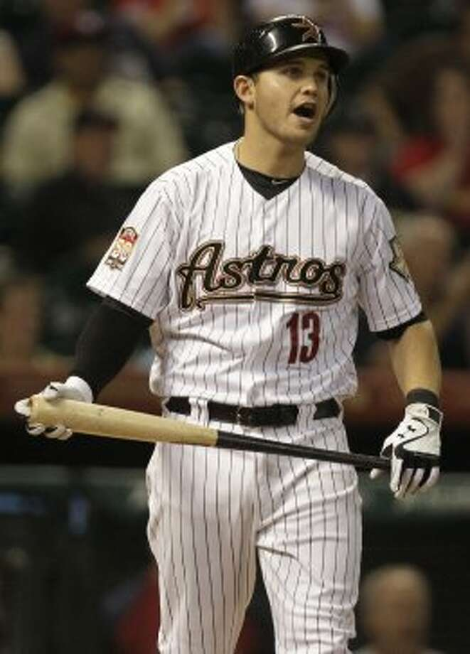 Brandon Laird reacts after striking out swinging  with the bases loaded to end the first inning. (Melissa Phillip / © 2012 Houston Chronicle)