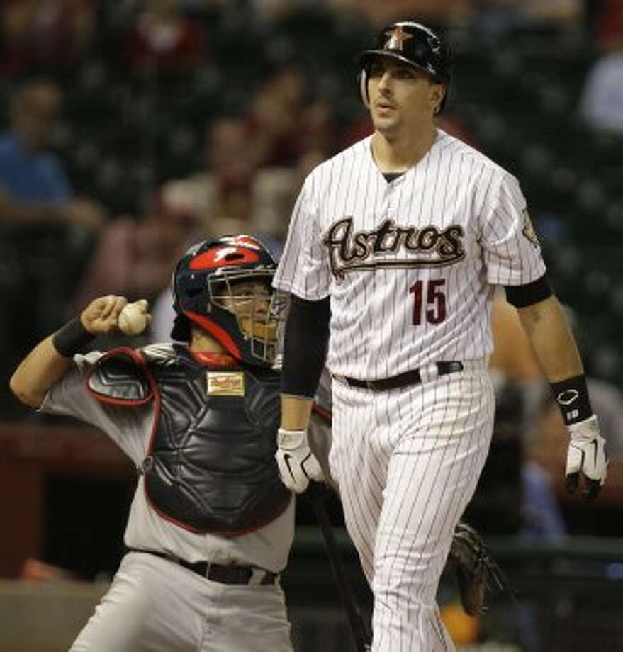 Jason Castro was not pleased after striking out. (Melissa Phillip / © 2012 Houston Chronicle)