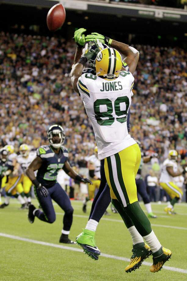 Seattle Seahawks cornerback Brandon Browner, obscured, breaks up a pass intended for Green Bay Packers wide receiver James Jones (89) on an attempt for a 2-point conversion in the second half of an NFL football game, Monday, Sept. 24, 2012, in Seattle. Photo: AP