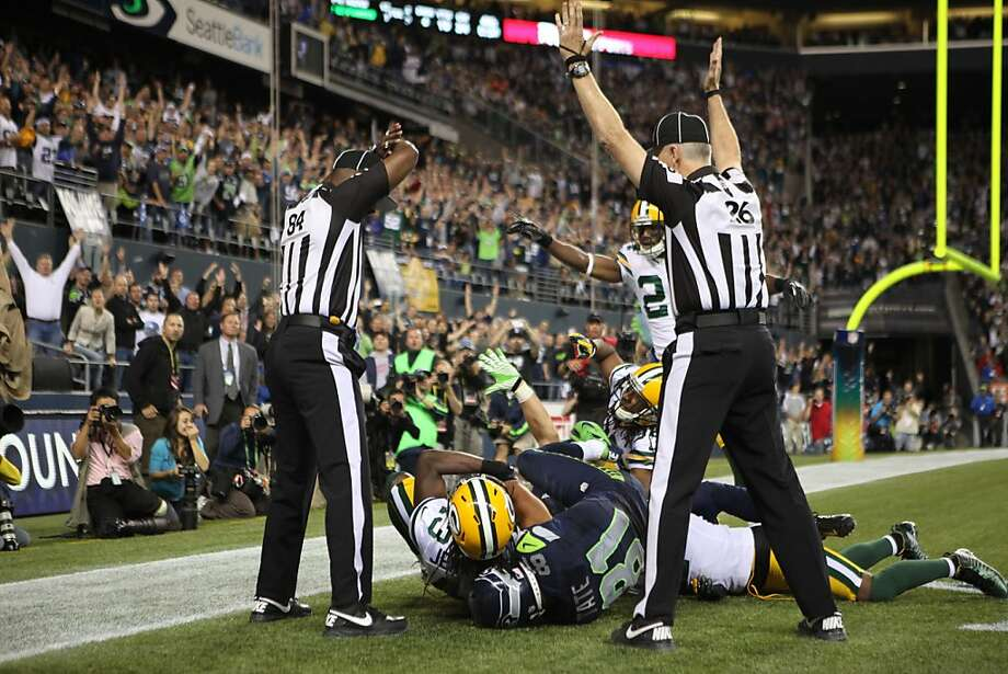 Wide receiver Golden Tate #81 of the Seattle Seahawks makes a catch in the end zone to defeat the Green Bay Packers on a controversial call by the officials at CenturyLink Field on September 24, 2012 in Seattle, Washington.  (Photo by Otto Greule Jr/Getty Images) Photo: Otto Greule Jr, Getty Images