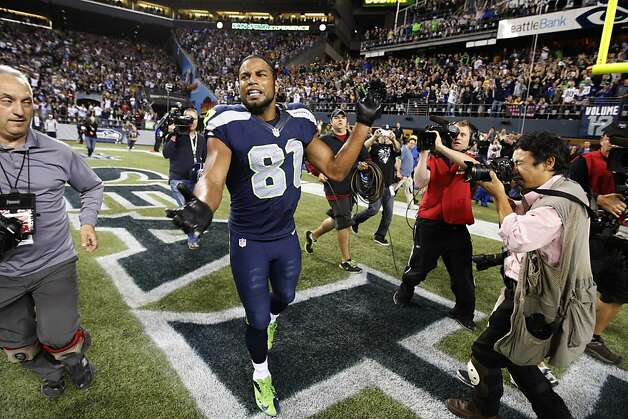SEATTLE, WA - SEPTEMBER 24: Golden Tate #81 of the Seattle Seahawks celebrates after making the game winning catch as time expired against the Green Bay Packers winning 14-12 at CenturyLink Field on September 24, 2012 in Seattle, Washington. (Photo by Kevin Casey/Getty Images) Photo: Kevin Casey, Getty Images