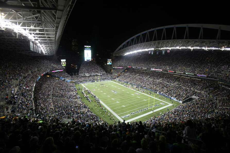 CenturyLink Field is shown as the Seattle Seahawks take on the Green Bay Packers during Monday Night