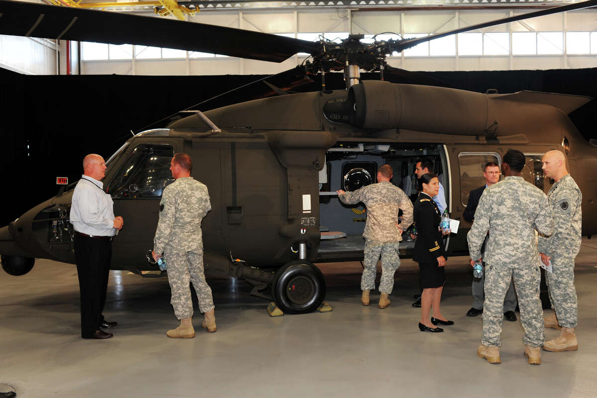 A medevac version of a H-60M Black Hawk helicopter on display during a ceremony at Sikorsky Aircraft, in Stratford, Conn. July 18th, 2012. The company is closing a plant in upstate N.Y., where more than 500 people are employed.