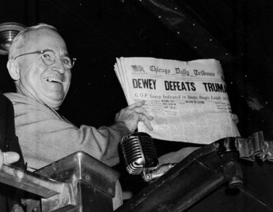 "Race: Harry Truman vs. Thomas Dewey for U.S. presidentYear: 1948Truman's upset over Dewey made big waves. The Chicago Tribune famously printed ""Dewey defeats Truman"" as a headline before voting had officially closed."