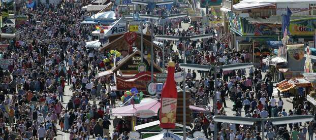 A sunny day on Tuesday brought out the crowds at Oktoberfest in Munich.  (AP Photo/Matthias Schrader) Photo: Ap/getty