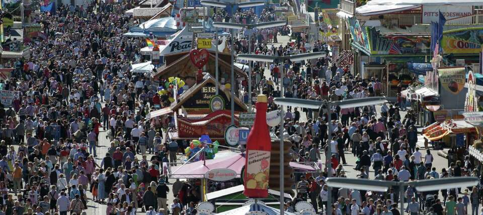 A sunny day on Tuesday brought out the crowds at Oktoberfest in Munich.  (AP Photo/Matthias Schrader