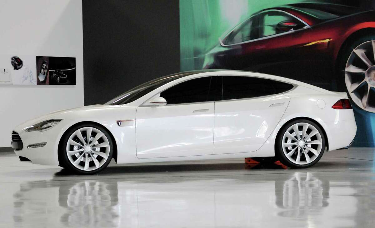A Tesla Model S car is showcased at the factory in Fremont, Calif., during an event to celebrate the release of the new car Friday, June 22, 2012. It is only the second car ever produced by Tesla, and first to be built at Tesla's own factory. (Special to The Chronicle)