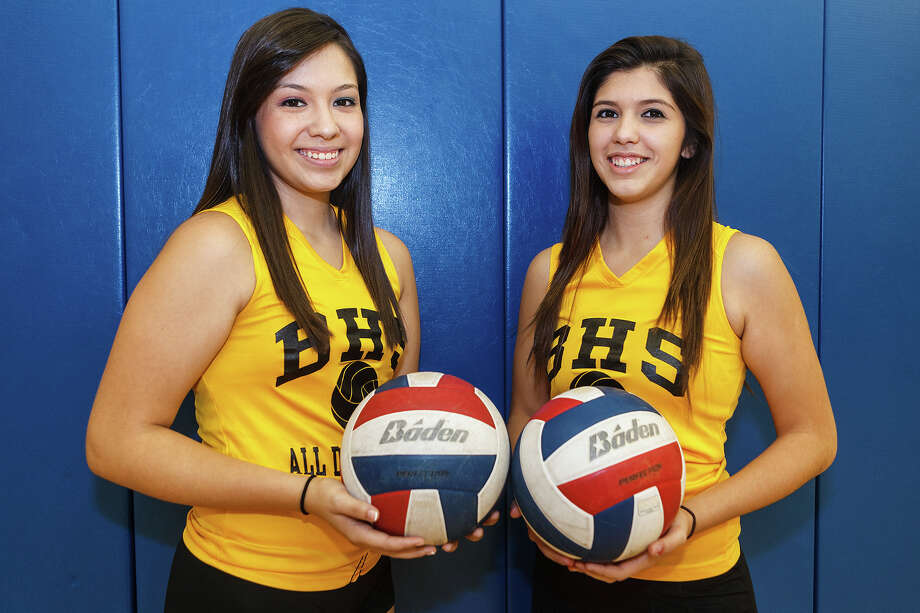 Brennan setters Reighanna Guzman (left) and Adrianna Garces prior to a practice session at the school on Sept. 19, 2012.  Photo by Marvin Pfeiffer / Prime Time Newspapers Photo: MARVIN PFEIFFER, Marvin Pfeiffer / Prime Time New / Prime Time Newspapers 2012