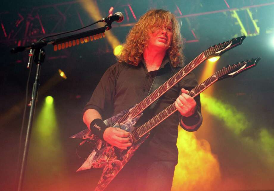 Megadeth's Dave Mustaine (who used to be in Metallica) made headlines in August when he accused President Obama of staging mass shootings in Aurura, Colo. and the Sikh Temple incident. Photo: Daniel Boczarski, Daniel Boczarski/Getty Images / 2012 Getty Images