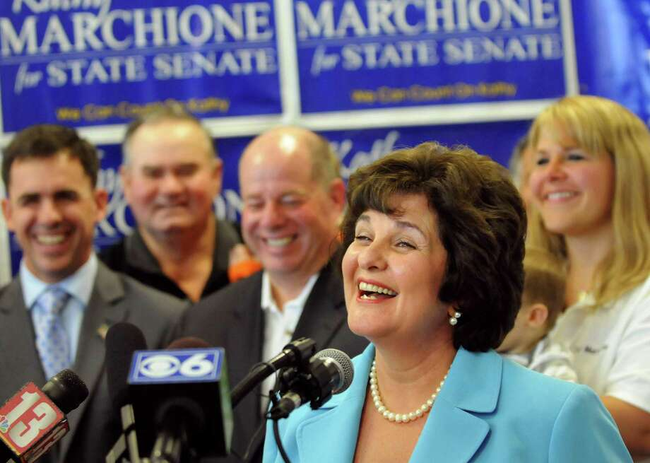 Kathy Marchione, center, declares victory in the GOP Senate primary over incumbent Roy McDonald on Tuesday, Sept. 25, 2012, at her campaign headquarters in Halfmoon, N.Y. (Cindy Schultz / Times Union) Photo: Cindy Schultz /  00019412A