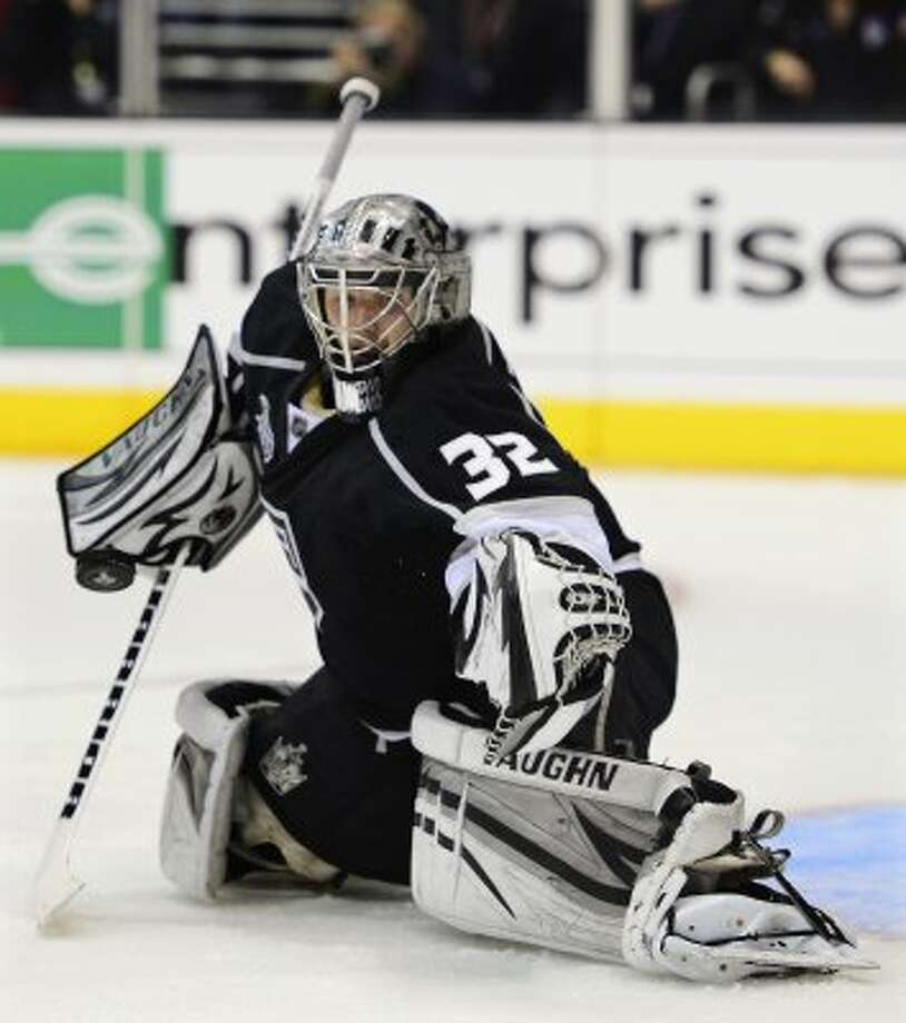 Los Angeles Kings goalie Jonathan Quick blocks a shot against the New Jersey Devils in the third period during Game 6 of the NHL hockey Stanley Cup finals,Monday, June 11, 2012, in Los Angeles.  (AP Photo/Mark J. Terrill) (Associated Press)