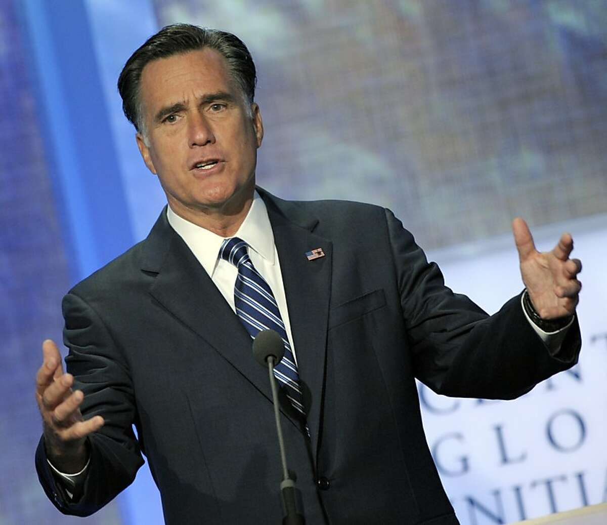 Republican presidential candidate Mitt Romney speaks at the annual meeting of the Clinton Global Initiative (CGI) in New York, U.S., on Tuesday, Sept. 25, 2012.