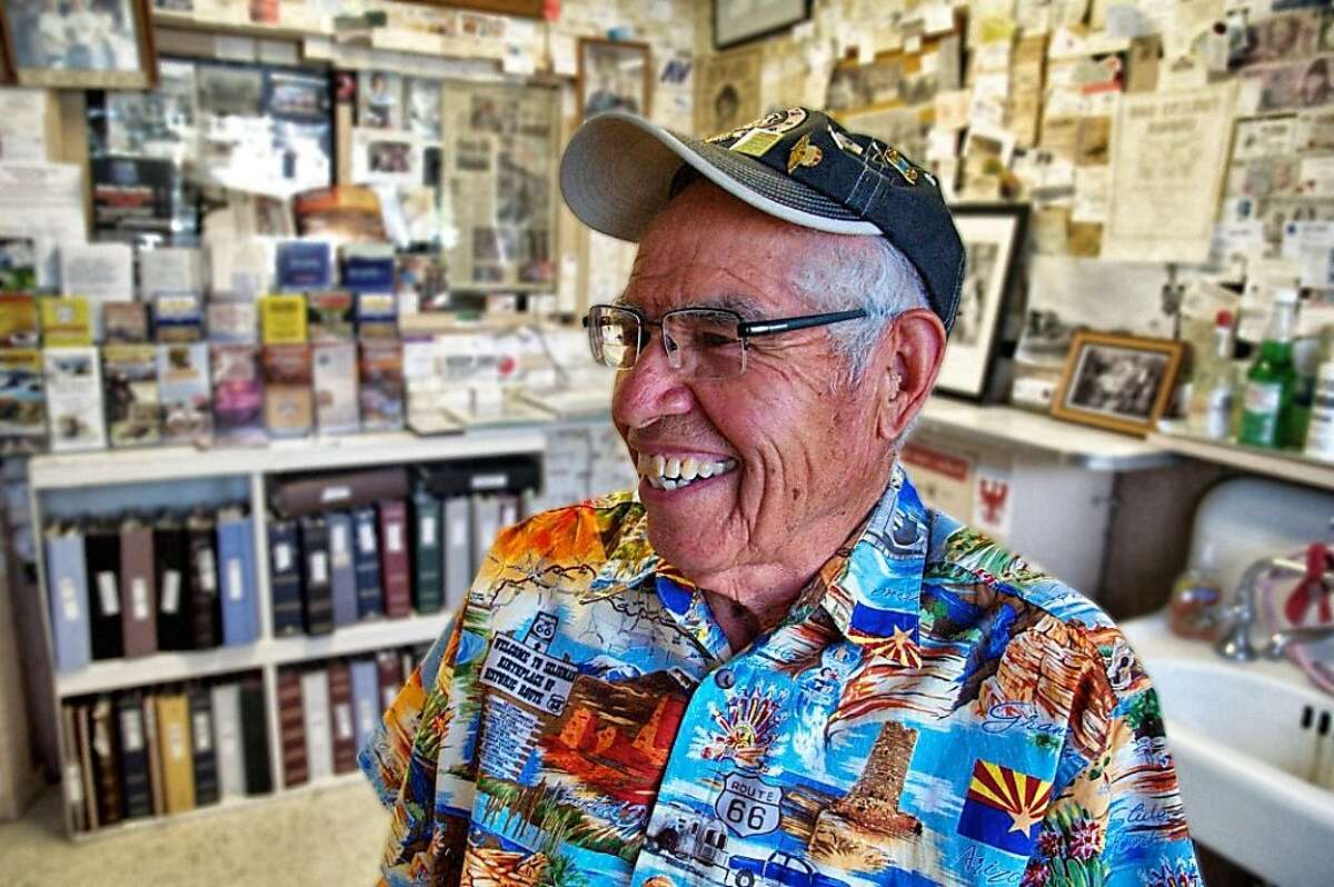 """Semi-retired barber, Angel Delgadillo, the """"father of the Mother Road,"""" Seligman, AZ By John Flinn / Special to The Chronicle"""