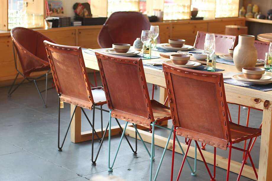 Jamey Garza's leather dining chairs. Photo: Heath Ceramics