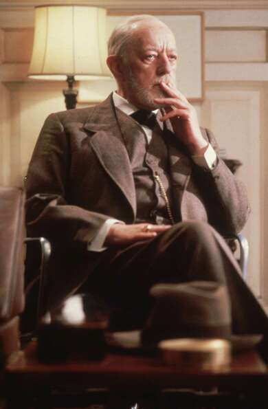 We think of Alec Guinness looking something like this, although not in a three-piece suit.