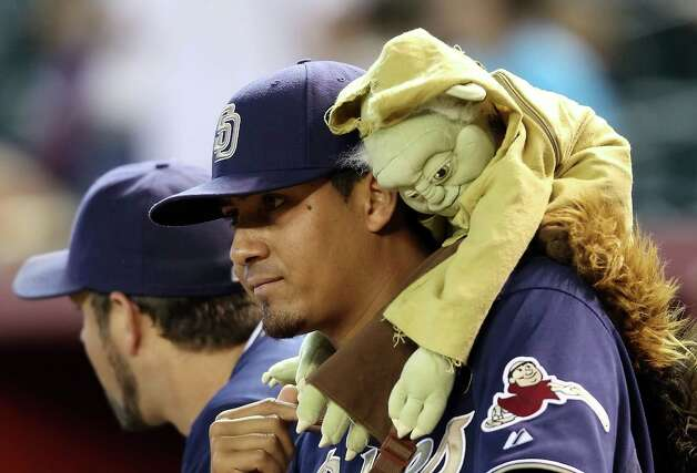 And yet, there Yoda was hanging on pitcher Ernesto Frieri of the San Diego Padres at a game against the Arizona Diamondbacks on August 8, 2010 at Chase Field in Phoenix. Photo: Christian Petersen, Getty Images / 2010 Getty Images