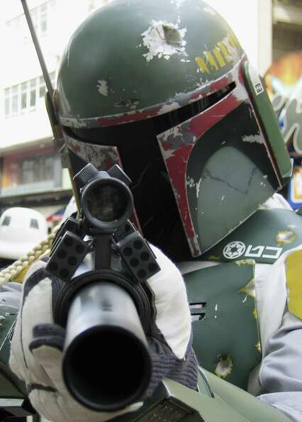 And here's Boba Fett outside the Empire cinema to celebrate the London premiere of the final part of