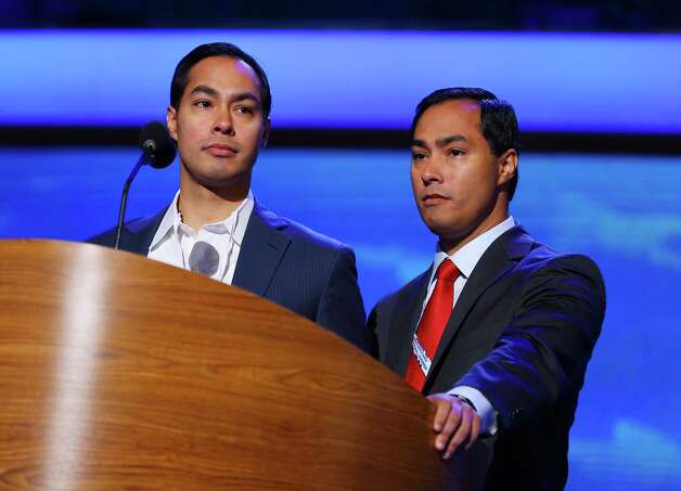 San Antonio Mayor Julian Castro, left, and brother Joaquin Castro stand at the podium during preparations for the Democratic National Convention at Time Warner Cable Arena on September 2, 2012 in Charlotte, North Carolina. The DNC that will start on September 4 and run through September 7, will nominate U.S. President Barack Obama as the Democratic presidential candidate. Photo: Joe Raedle, Getty Images / 2012 Getty Images