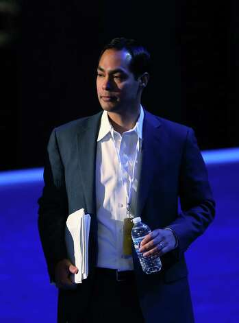 CHARLOTTE, NC - SEPTEMBER 02:  San Antonio Mayor Julian Castro stands on stage during preparations for the Democratic National Convention at Time Warner Cable Arena on September 2, 2012 in Charlotte, North Carolina. The DNC that will start on September 4 and run through September 7, will nominate U.S. President Barack Obama as the Democratic presidential candidate. Photo: Streeter Lecka, Getty Images / 2012 Getty Images