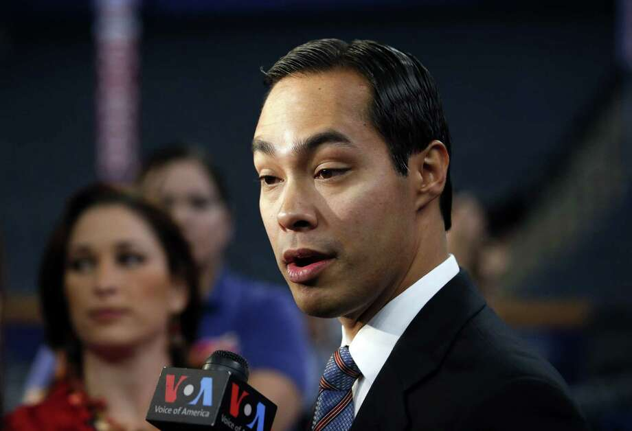 San Antonio, Texas Mayor Julian Castro talks to reporters at the Democratic National Convention in Charlotte, N.C., Tuesday, Sept. 4, 2012. The mayor will give the keynote speech at the DNC. Photo: Jae C. Hong, Associated Press / AP
