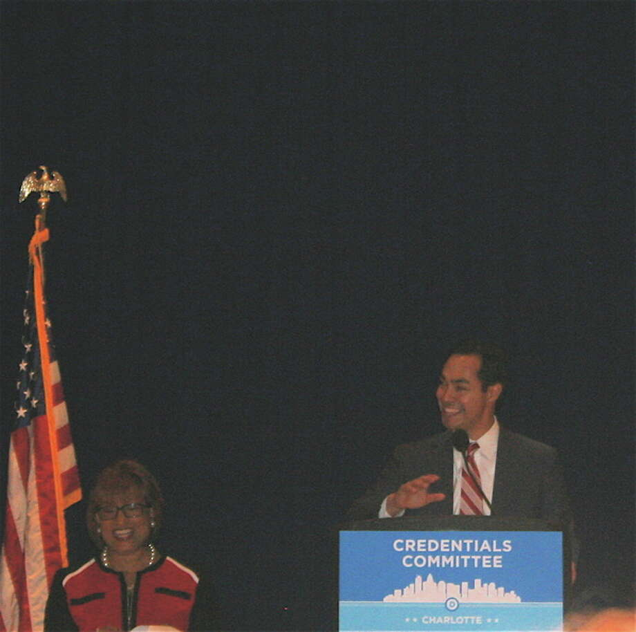 Julian Castro at a Democratic National Committee session.