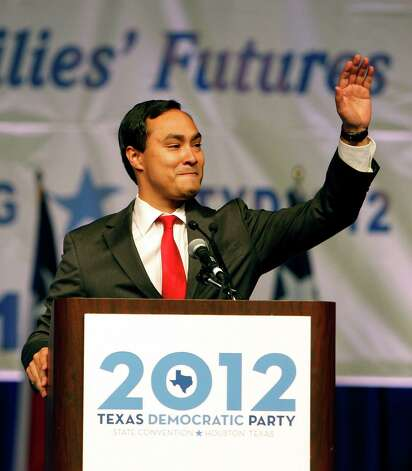 Democratic Congressional Candidate Joaquin Castro speaks prior to introducing his twin brother and San Antonio Mayor Julian Castro during the the 2012 Texas Democratic Party State Convention at the George R. Brown Convention Center Friday, June 8, 2012, in Houston. Photo: James Nielsen, Chronicle / © Houston Chronicle 2012
