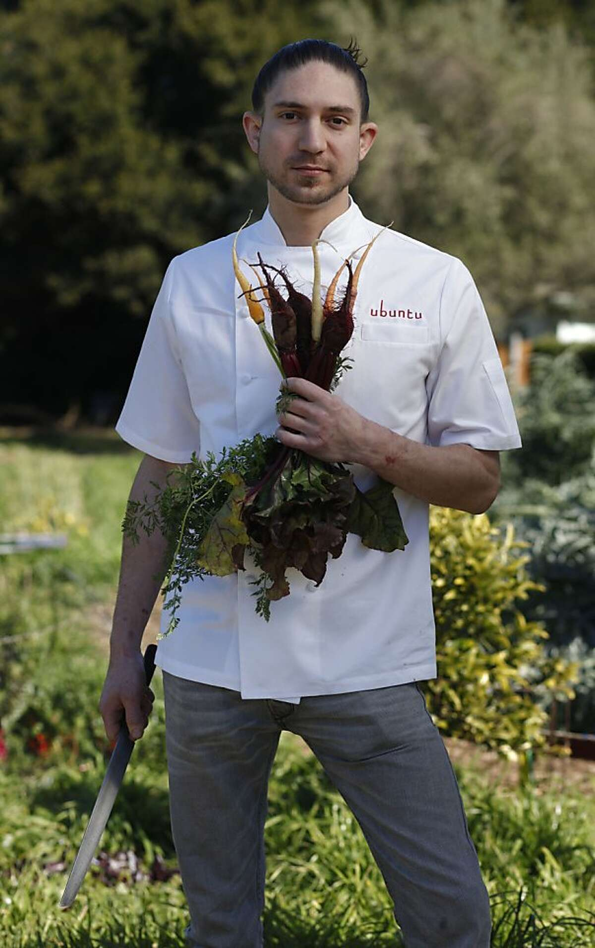Aaron London, Chef at Ubuntu in Napa, one of six bay area rising star chefs stands for a portrait at the Edible Schoolyard on the Martin Luther King Middle School campus on Tuesday Feb. 22, 2011 in Berkeley, Calif.