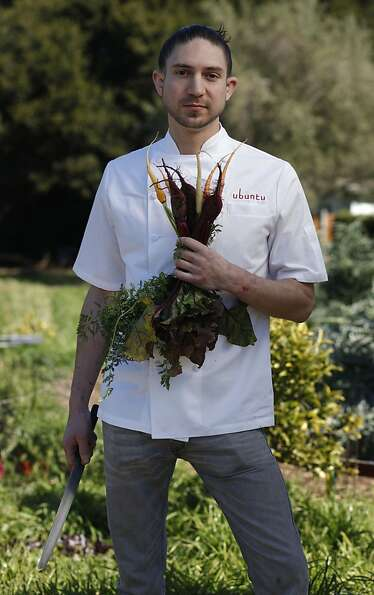 Aaron London, Chef at Ubuntu in Napa, one of six bay area rising star chefs stands for a portrait at