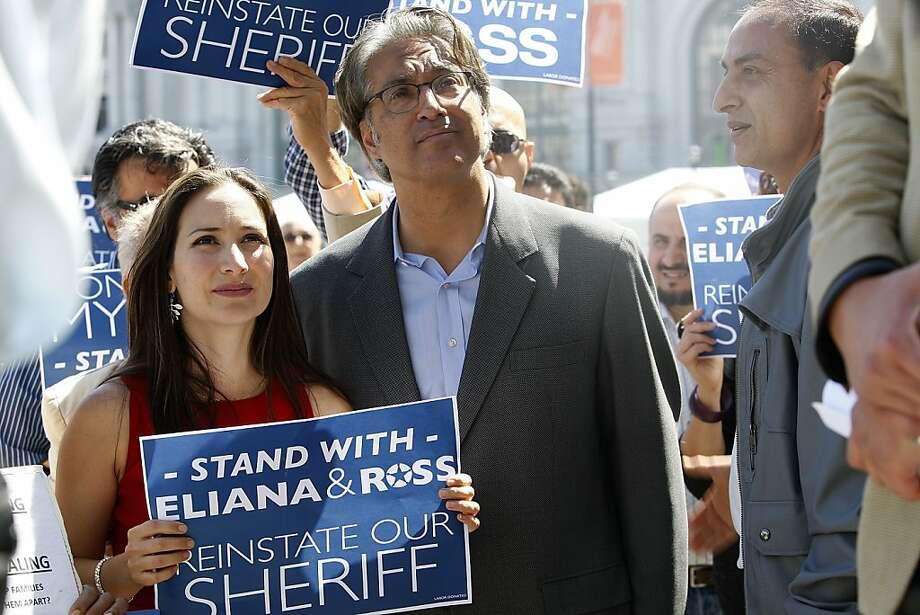 Eliana Lopez and Ross Mirkarimi attend a rally. Photo: Liz Hafalia, The Chronicle