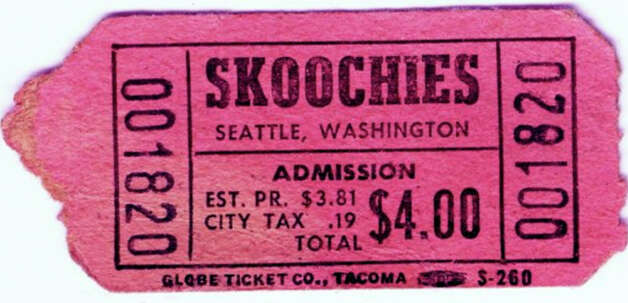 An 1980s admission ticket for Skoochies in Seattle. The former club building at 131 Taylor Avenue North was demolished in Sept. 2012. Photo: Courtesy Kim Roller/Children Of Skoochies Facebook Page