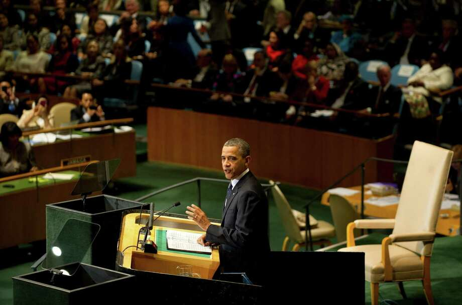 US President Barack Obama delivers his address during the 67th United Nations General Assembly meeting September 25, 2012 at the United Nations in New York. AFP PHOTO / DON EMMERTDON EMMERT/AFP/GettyImages Photo: DON EMMERT