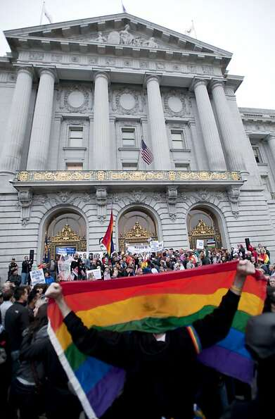 Demonstrators protest Proposition 8, the state ban on same-sex marriage, outside San Francisco's Cit