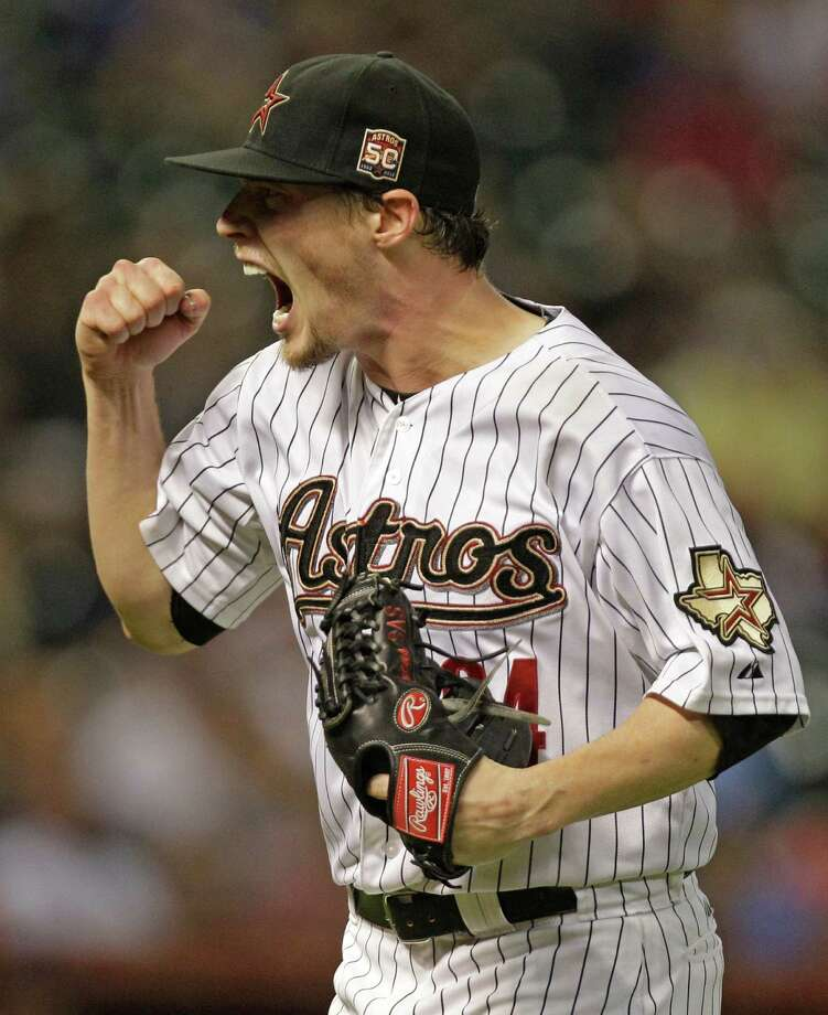 A meaningless game? Not for Lucas Harrell, who was his usual excitable self after escaping a jam in the fifth. Photo: Melissa Phillip / © 2012 Houston Chronicle