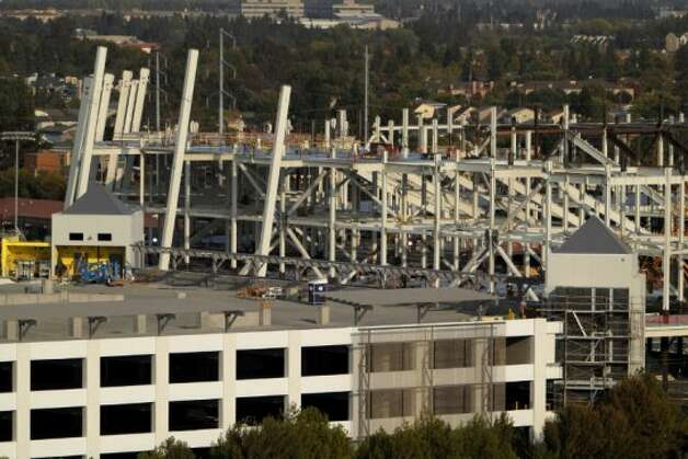 The new 49ers stadium is seen from the Hyatt Regency Santa Clara as the construction is underway at the new Santa Clara Stadium on Tuesday, September 25, 2012, in Santa Clara, Calif. The stadium is scheduled to open in 2014, and the 49ers will make the stadium their new home. (Carlos Avila Gonzalez / The Chronicle)