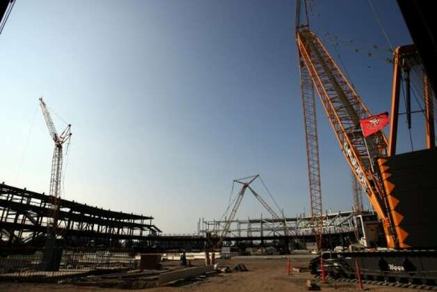 Construction is underway at the new Santa Clara Stadium for the San Francisco 49ers on Tuesday, September 25, 2012, in Santa Clara, Calif. The stadium is scheduled to open in 2014, and the 49ers will make the stadium their new home. (The Chronicle)