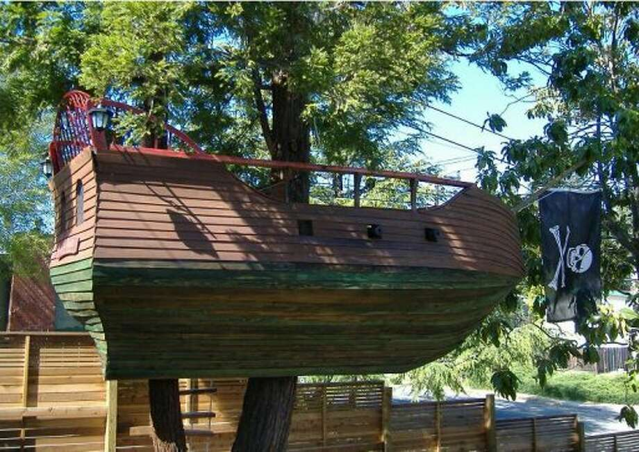 "Grandfather Dave Coleman built this in the Castro Valley backyard of his grandkids and their parents. ""I've built boats in the past and I've built decks.  So this wasn't too different except for the challenge of having it all supported by a pair of redwood trees."" (Courtesy Dave Coleman  )"