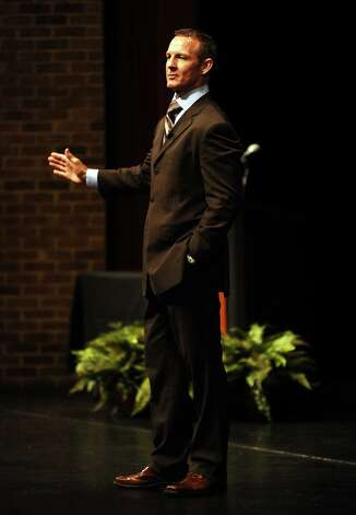 "Former NFL star, ESPN analyst, and cancer survivor Merril Hoge spoke on his ""Find a Way"" philosophy at the Lutcher Theater on Tuesday, September 25, 2012. Photo taken: Randy Edwards/The Enterprise Photo: Randy Edwards"