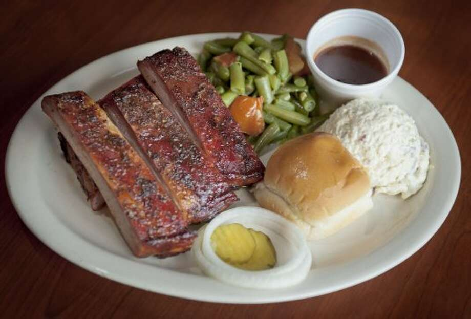 Pork rib plate, photographed Wednesday, Sept. 13, 2012, at B&B Smokehouse in San Antonio. (Darren Abate/For the Express-News) (For the Express-News)